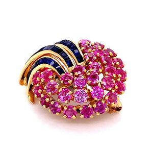 Antique Retro Pink and Blue Sapphires Gold Brooch Pin Estate Fine Jewelry France