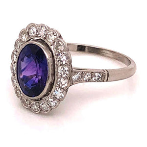 2.11 Ct Purple Sapphire and Diamond Platinum Cocktail Ring Estate Fine Jewelry