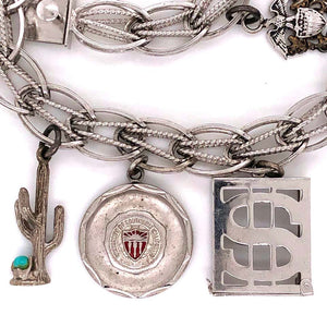 Vintage USC Sterling Silver Charm Bracelet with $5 US Bill in Box Estate Find