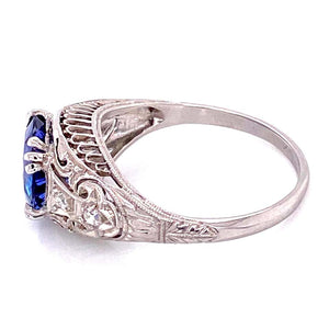 2.64 Carat Sapphire and Diamond Art Deco Style Platinum Ring Fine Estate Jewelry