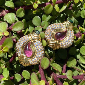 Diamond and Tourmaline Casmir Gold Designer Earrings Fine Estate Jewelry