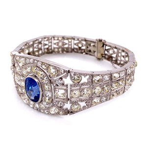 25 Carat Diamond and Sapphire Art Deco Platinum Bracelet Estate Fine Jewelry GIA
