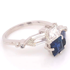 2.00 Carat Blue Sapphire and Diamond Bypass Platinum Ring Fine Estate Jewelry