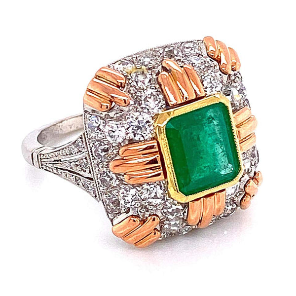 2.2 Carat Emerald and Diamond Retro Style Platinum Gold Ring Fine Estate Jewelry