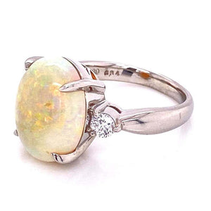 6.34 Carat White Opal and Diamond Platinum Cocktail Ring Fine Estate Jewelry