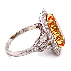 2.50 Carat Imperial Topaz and Diamond Platinum Cocktail Ring Estate Fine Jewelry