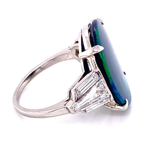 5.80 Carat Black Opal and Diamond Platinum Cocktail Ring
