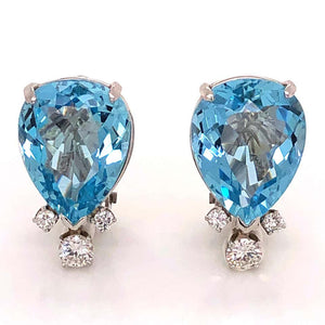 14.0 Carat Aquamarine and Diamond Gold Clip Back Earrings Fine Estate Jewelry