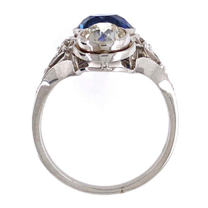 2.53 Carat Sapphire and Diamond Platinum Cocktail Ring Fine Estate Jewelry