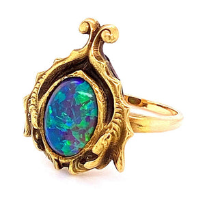 Arts & Crafts Australian Black Opal Gold Cocktail Ring Fine Estate Jewelry