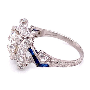 2.16 Carat Diamond and Sapphire Platinum Cocktail Ring Fine Estate Jewelry