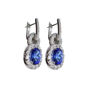 6.50 Carat Vivid Blue Tanzanite Diamond Drop Gold Earrings Estate Fine Jewelry