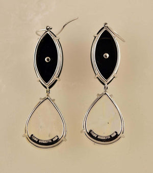 Moonstone, Coral and Black Onyx Gold Earrings Tony Duquette Fine Jewelry