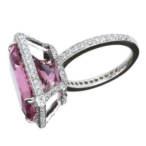 11.29 Carat Emerald Cut Pink Tourmaline Gold Ring Estate Fine Jewelry
