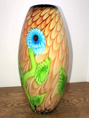 Exquisite Large Murano Floral Luxury Art Glass Vase Estate Find
