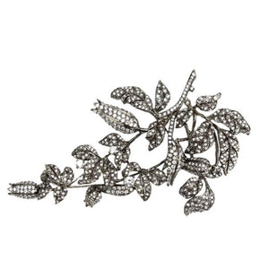 Faux Diamond Tremblant Lily of the Valley Flower Silver Runway Brooch Pin