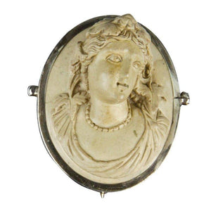 Victorian Lava Cameo Hand Carved in High Relief Brooch Pin