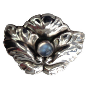 Georg Jensen Sterling Silver Flower Brooch Moonstone Center