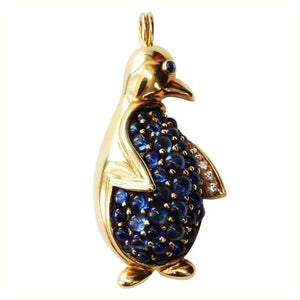 Alessandria Sapphire Encrusted Gold Penguin Pin Brooch Pendant