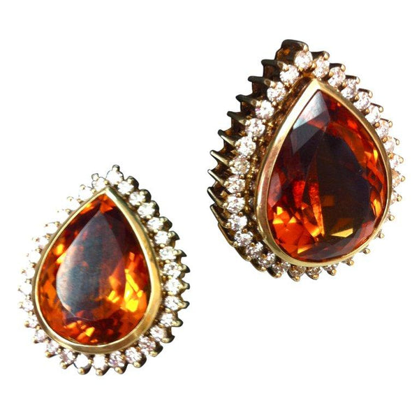 Coach House Mandarin Teardrop Citrine Diamond Gold Statement Earrings