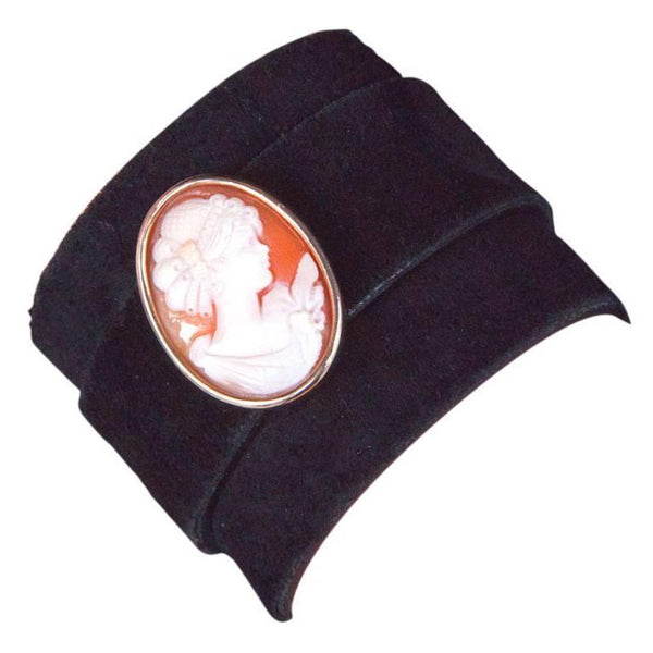 Gold Cameo Leather Cuff Bracelet