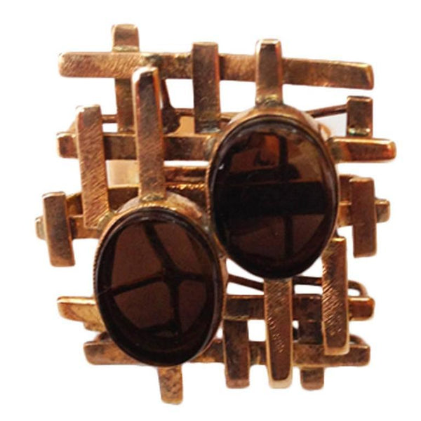 Modernist Quartz Gold Lattice Design Statement Ring