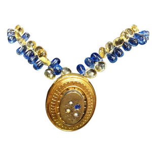 Victorian Mourning Locket and Sapphire Citrine Gold Briolettes Necklace