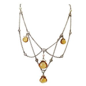Diamond Citrine Briolette Pearl Gold Festoon Necklace
