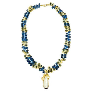 Amazing Sapphire and Citrine Briolettes Pearl Yellow Gold Necklace