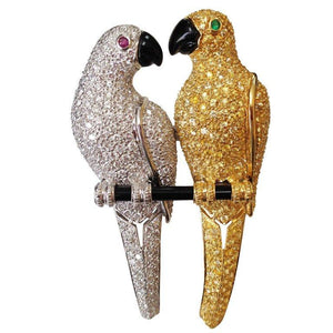 Diamond Parrots Perched on a Branch Gold Brooch Pin