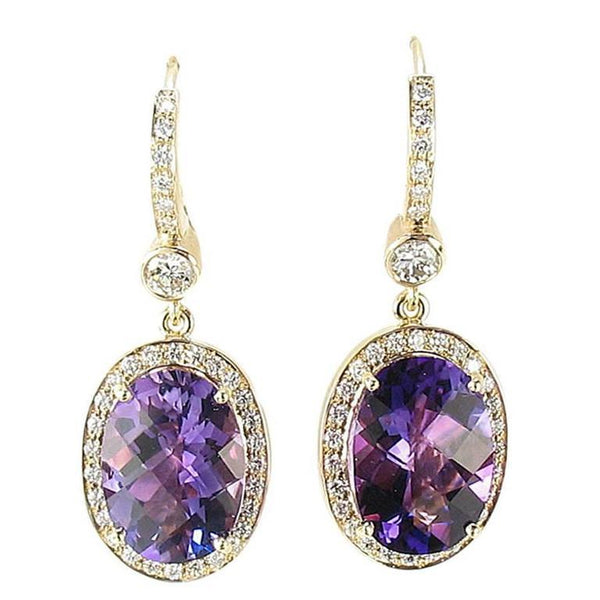 Stunning Amethyst Diamond Gold Drop Earrings