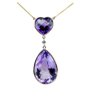 Heart and Teardrop Amethyst Diamond Gold Pendant Necklace