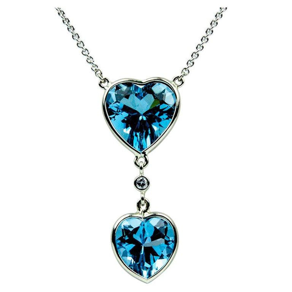 Beautiful Blue Topaz Double Heart Gold Pendant Necklace