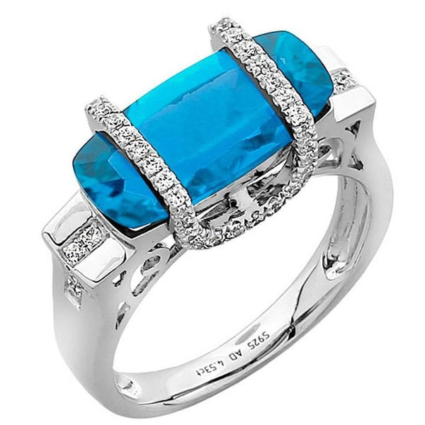 Swiss Blue Topaz Diamond Gold Statement Engagement Ring
