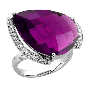 15.55 Carat Amethyst Diamond Gold Statement Ring