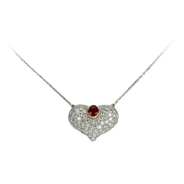 3.25 Carat Ruby Diamond Gold Heart Statement Necklace