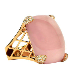65 Carat Rose Quartz Diamond Gold Statement Ring