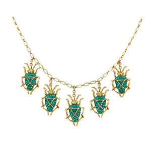 Askew London Signed Scarab Drops Necklace