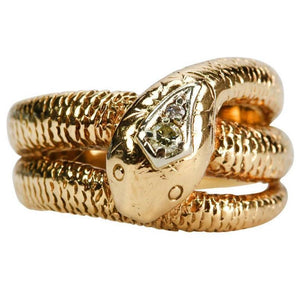 Art Deco Diamond Gold Snake Ring