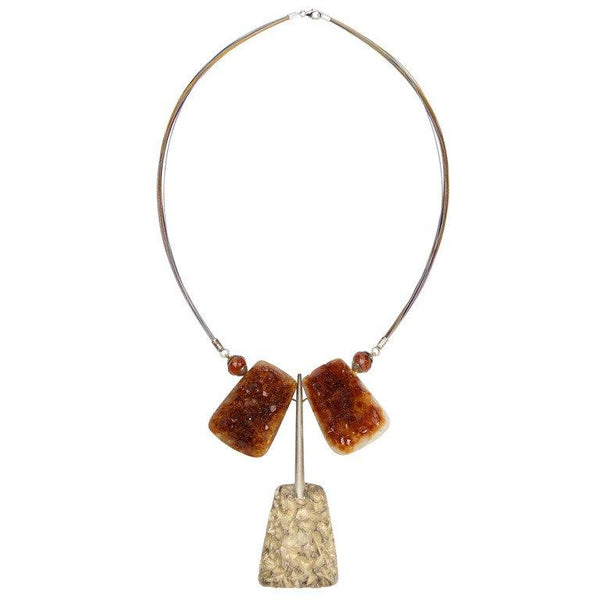 Awesome Natural Citrine Quartz and Sterling Silver Statement Necklace