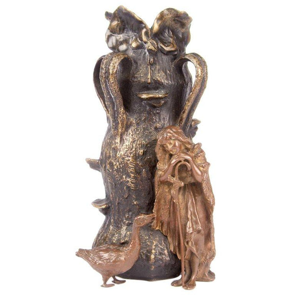 Carl Kauba Bronze Figural Vase of The Goose Girl