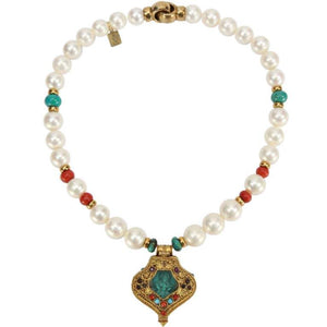 Pearl Coral and Turquoise Necklace with a Tibetan Gau Gilt Silver Pendant
