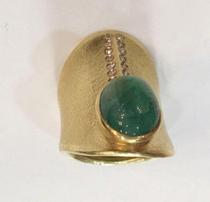 Michael Zobel 7.53 Carat Emerald and Diamond Gold Statement Heirloom Ring