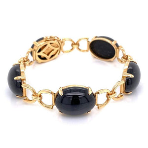 Gump's Black Jade Gold Link Bracelet Fine Estate Jewelry