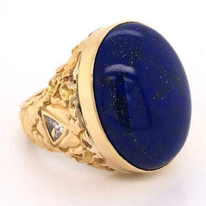 20 Carat Blue Lapis Lazuli Gentleman's Gold Ring Estate Fine Jewelry