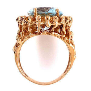 Modernist 8.92 Aquamarine Yellow Gold Cocktail Ring Fine Estate Jewelry