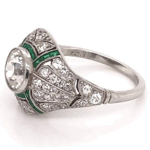 Art Deco Style 1.23 Carat Diamond Emerald Platinum Engagement Ring