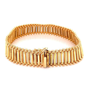Mid-Century Modern Link Yellow Gold Bracelet Fine Estate Jewelry