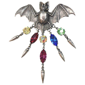 Awesome Askew London Bat with Faux Gem Stones Brooch Pin