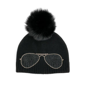 Black Aviator Knitted Beanie with Fox Pom Pom